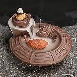 Jeteven Fish Turn-around Ceramic Glaze Cone Incense Burner Backflow Smoke Holder Censer Home Boutique Decoration
