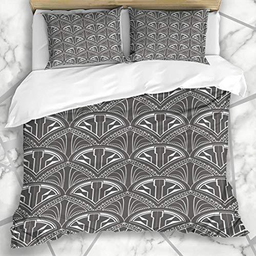 Soefipok Bettbezug-Sets Holzkohle Muster Vintage Fächerform Phantasie grau abstraktes Design Mikrofaser-Bettwäsche mit 2 Kissenbezügen (Holzkohle Grau Bettbezug)