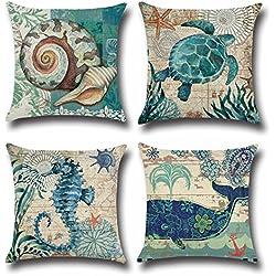 Juego de Fundas de Cojines Decorativos con Elementos Marinos Decoración para Cama Sofa Coche Sillas 45*45cm 4 PCS (Sin Rellenos)