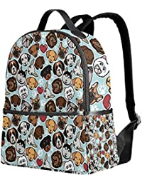 b63547f408ea use4 Cartoon Chihuahua Dachshund Dog paw Print Polyester Backpack School  Travel Bag