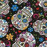 Totenkopf Stoff-DT18-Skulls schwarz mexikanischen