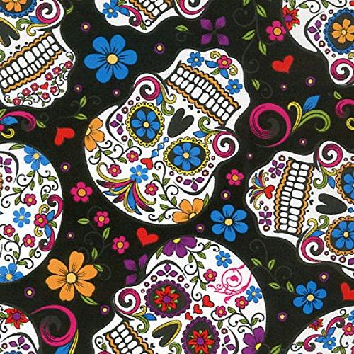 Totenkopf Stoff-DT18-Skulls schwarz mexikanischen Folklore-von 0,5Meter-100% Baumwolle -