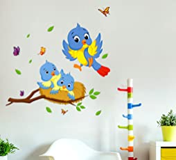 Decals Design 'Happy Birds Family' Wall Decal (PVC Vinyl, 60 cm x 45 cm x 60 cm, Multicolour)