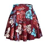 Women's Basic Solid Versatile Stretchy Flared Casual Mini Skater Skirt (XL, #4)