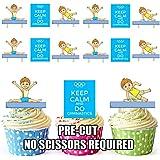 12x gimnasia azul niños Keep Calm Mix–comestibles función atril UPS Tarjeta de oblea para tartas
