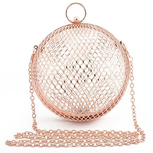 Preisvergleich Produktbild YXLONG Neue Europäische Und Amerikanische Damen Eisen Mesh Ball Abendtasche Metall Abendtasche,RoseGold(withbracelet)