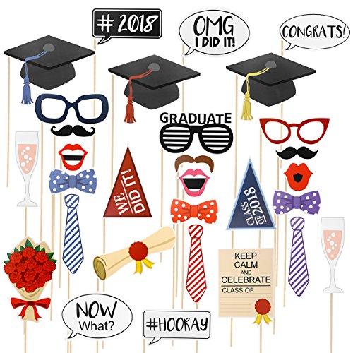 oulii 2018Graduation Photo Booth Requisiten Graduate Party Dekorationen Pose Schild Kit für die Graduierung Thema Party Supplies Gastgeschenken 30Stück