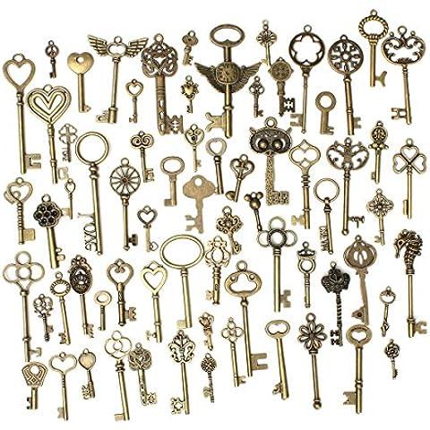 Vintage Keys Ciondoli Retro Bronzo Skeleton Vintage Chiavi Set Chiavi Fai Da Te Accessori Handmade Fascino Collana Regalo di Natale per Bambino Gruppo Ricordo 69pcs - KING DO WAY