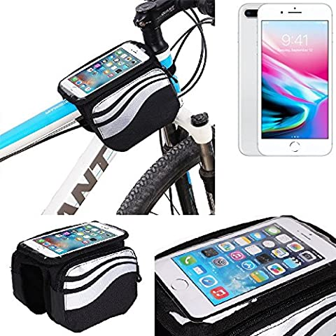 For Apple iPhone 8 Plus: Cycling Frame Bag, Head Tube Bag, Front Top Tube Frame Pannier Double Bag Pouch Holder Crossbar Bag, black-silver water resistant -