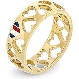خاتم ستيل مطلي بالذهب الايوني للنساء من تومي هيلفجر- 2701094D