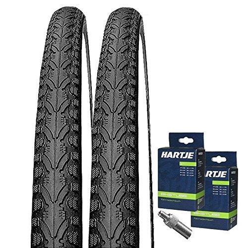 KENDA Set: 2 x K935 schwarz Fahrradreifen 47-355 / 18x1.75 + 2 SCHLÄUCHE Dunlopventil X 18
