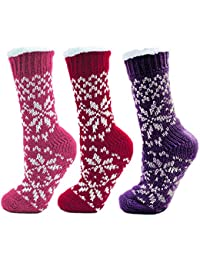 Set Of 3 Colours Womens/Ladies Fairisle Print Knitted Slipper Socks With Bottom Grip One Size, Pink, Red & Purple