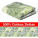 Divine Casa Cotton Lightweight Reversible Single Blanket/Duvet/Quilt/AC Dohar, Floral- Dark Green and Light Green