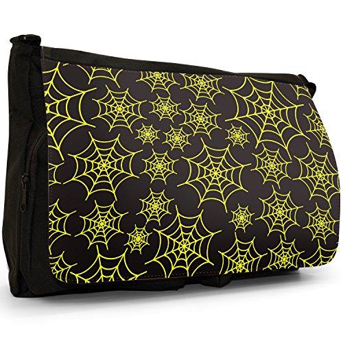 Spider web, taglia da puledro, colore: nero, Borsa Messenger-Borsa a tracolla in tela, borsa per Laptop, scuola Yellow Spider Cobwebs