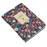 A5 Notepad, a righe con motivo floreale con copertina rigida in pelle memo diario planner personale 200 pagine block-separated floreale Edge spessa carta bianca con nastro Marker 13*18.5cm(A5) Colorful flower language