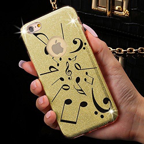 Astuccio di design + braccialetto - cavo USB per telefono iPhone 7 con broccato splendente. Lussuoso case in silicone brillante queen doro nota doro + Cavo USB