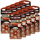 60 ANSMANN Hörgerätebatterien 312 Zink Luft 1,4V PR41 AZA312 braun 5013233 Hörgeräte Knopfzelle Batterie - besonders lange Laufzeit