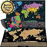 Mappa del mondo con bandiere da grattare + Mappa dell'Europa in Regalo (Mappa del mondo 61 x 43 CM ,Mappa dell'Europa 46 x33 CM)