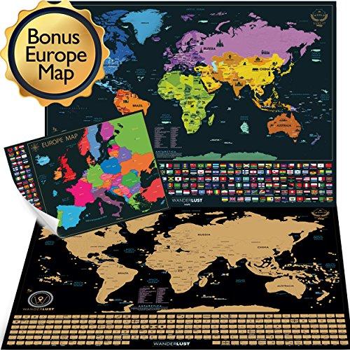 Mapa mundi rascar 61x43 cm + Mapa de Rascar Europa 46x33 cm. Rascar Island, país, las ciudades que visitó. Incluye rascador y pegatinas para recorder.
