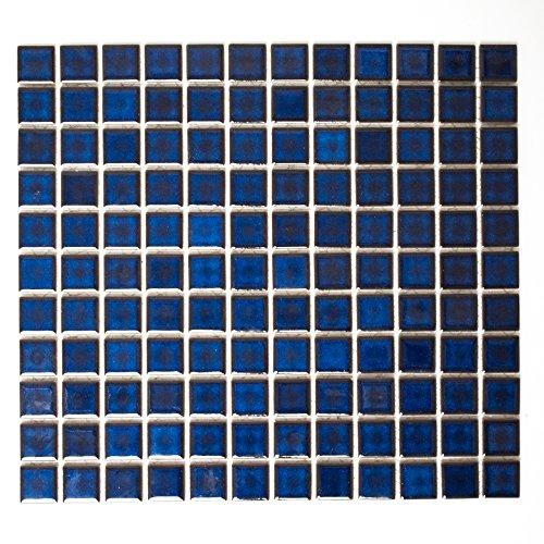 n Mosaik Küche Bad WC Wohnbereich Fliesenspiegel Keramik Quadrat uni kobaltblau #K157 ()