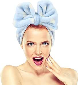 Fasce per il trucco Hairizone per viso, doccia, maschera spa, morbido e carino, fiocco grande, per donna e ragazza, blu