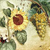 20 Servietten Sonnenblume und Trauben / Blumen / Herbst 33x33cm