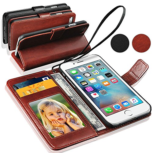 GBOS® Brown Genuine Luxury Leder-Standplatz-Mappen-Schlag-Fall-Abdeckung für Apple iPhone 6S mit freiem Schirmschutz (speziell gefertigten - Premium Qualität) Antique Leather Case Brown