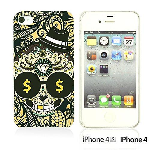OBiDi - Skull Pattern Hardback Case / Housse pour Apple iPhone 4S / Apple iPhone 4 - Floral Skull Skull with Paisley Background