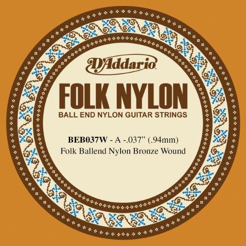 D'addario folk beb037w - a -.037 - muta di corde per chitarra, in nylon con estremità sferica, avvolta in bronzo, 1 pezzo