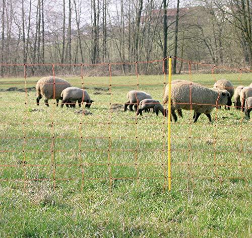 VOSS.farming Schafzaun 90cm Classic 50m | Schafnetz Ziegenzaun Elektronetz | 14 Pfähle 2 Spitzen | Orange