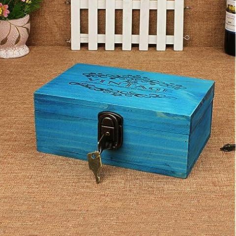 GG Scatole di legno dell'annata con serrature. desktop di storage box. deposito box. scatola di legno di finitura