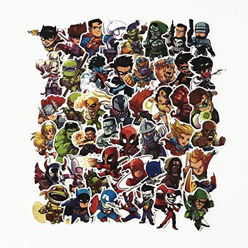 Inveroo Nouveau 51 Pcs/lot Autocollants pour Marvel Super Héros DC pour Voiture Ordinateur Portable Sticker Frigo Skateboard Batman Superman Hulk Iron Man