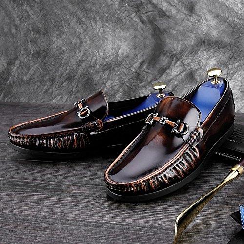 Zapatos De Cuero Casuales De Los Hombres Vestido De Boda De Otoño Moda Slip On Brown-black Brown