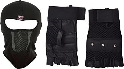 H-Store Balaclavas Unisex Lycra Face Mask Black Anti Pollution Dust Sun Protecion Face Cover Mask with Black Gym Workout Body Geometry Road Cycling Race Bodybuilding Leather Unisex Adults Gloves