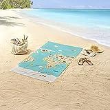 Aminata Kids – Strandtuch Kinder Jungen Mädchen groß á 75x150 cm Weltkarte *inkl. Gratis E-Book* Handtuch Duschtuch Badetuch mit Motiv für Strand Schwimmbad Landkarte Strandhandtuch Reisehandtuch