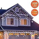 320 LED Tenda luminosa, Luci natalizie per interni e esterni, Bianco Brillante, Catene luminose con 8 modalità luce/timer, Memoria, trasformatore incluso, 11 m lunghezza- Cavo Verde