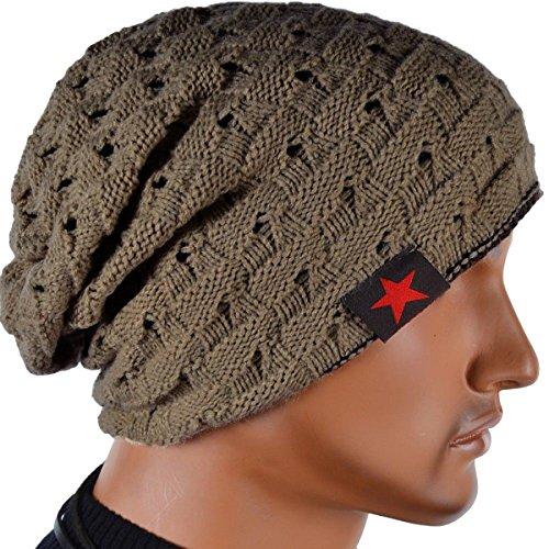 Thenice Cappello Uomo Reversibile Berretto Inverno Cap (Cachi (khaki))
