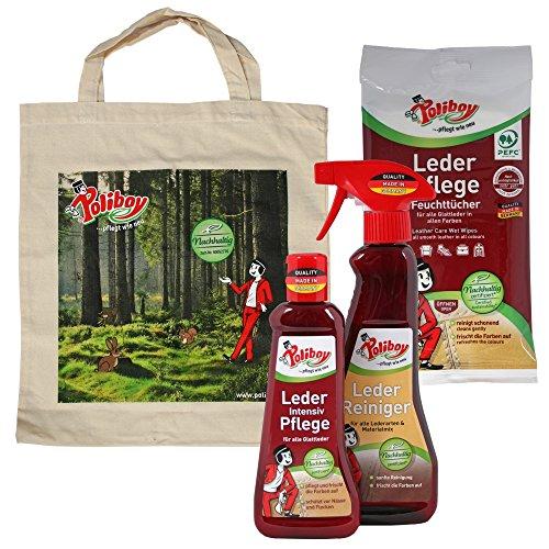 Poliboy Leder Reiniger (375 ml), Leder Intensiv Pflege (200 ml) und Leder Pflege Feuchttücher (20 Stück) + Tasche