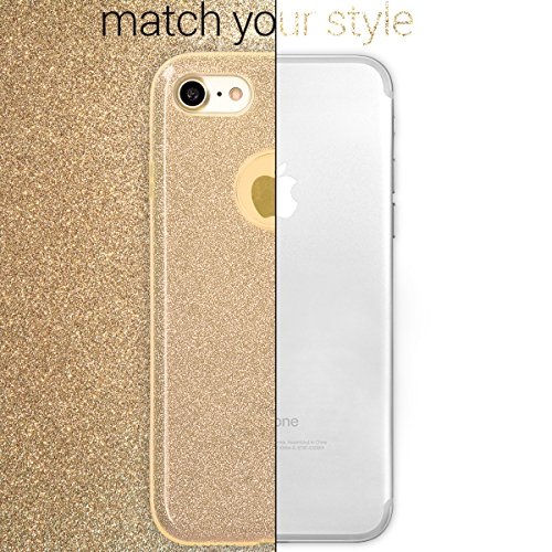 kwmobile Hülle für Apple iPhone 7 / 8 - TPU Silikon Backcover Case Handy Schutzhülle - Cover klar Ananas Strauch Design Rosegold Transparent Glitzer Uni Gold