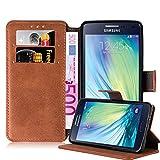 Cadorabo Hülle für Samsung Galaxy A5 2015 (5) - Hülle in MATT BRAUN – Handyhülle mit Standfunktion und Kartenfach im Retro Design - Case Cover Schutzhülle Etui Tasche Book Klapp Style