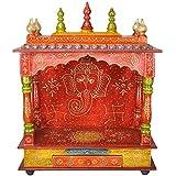 Darbar Creations Wooden Rajasthani Ethnic Handpainted Temple (60 cm x 30 cm x 75 cm)