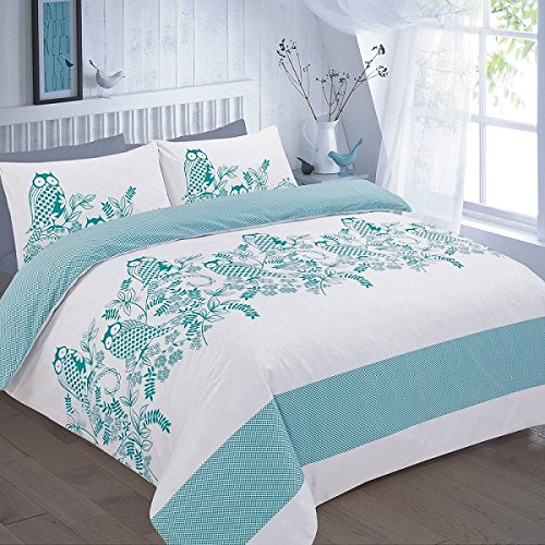HOME TLC OWLS BIRD PHOTOGRAPHIC DUVET QUILT COVER PILLOWCASE BEDDING SET SINGLE DOUBLE KING SUPERKING SIZE (Double, Teal)