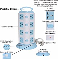 Troops Tower Spike Buster - 4 Floor - 3 USB 16 Socket Surge Protector (White) (4TOWER)