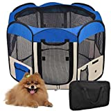 Maxmer Portable Foldable Pet Playpen Dog Cat Puppy Fabric Play Run Cage (Large, Blue)