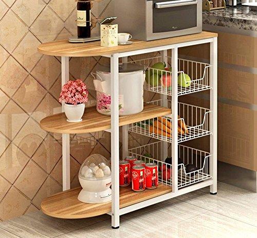 GRY Küchenregal / Mikrowellen-Rack / Boden-Küche-elektrisches Regal / Speicher-Regal,Alte Eiche -