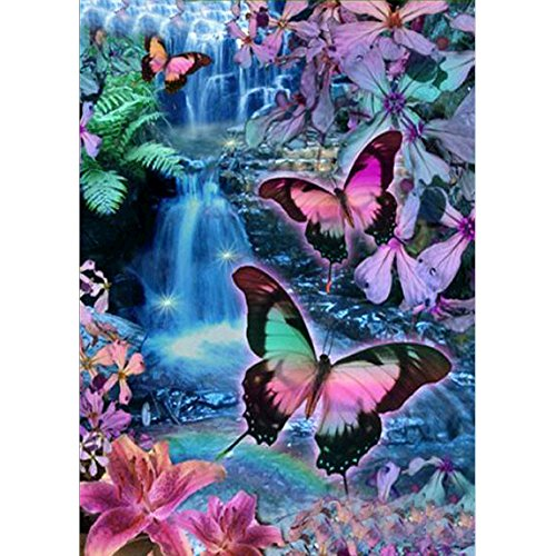 5D DIY Diamond Painting by Numbers Kits, Crystal Embroidery Cross Stitch Rhinestone Mosaic Drawing Art Craft Home Wall Decor, Butterfly Waterfall Flower