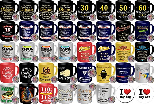 Verschiedene Geschenk gelegenheiten - Geburtstag Geschenke Sets kaufen - Geschenkidee kaufen Tasse mit passendem Buttton - Premium Geschenk Tasse kaufen - Keramik mit haltbarem Branddruck in vorne offener Geschenkbox