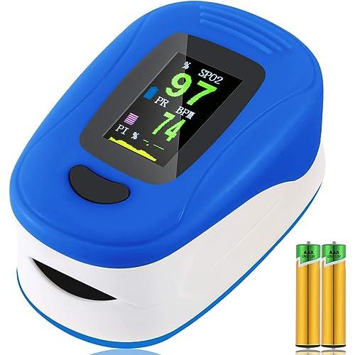 Ossimetro, pulsossimetro da dito, saturazione di ossigeno nel sangue, frequenza del polso e monitor del livello SpO2(con cavo e batteria), adatto per la famiglia, il fitness