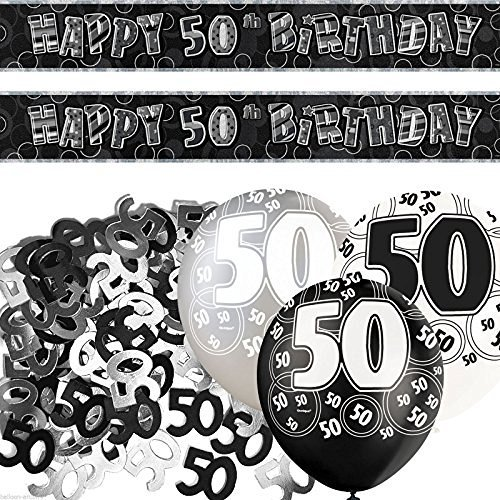 Black and Silver Glitz 50th Birthday Party Decoration Set