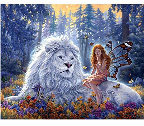 5D Diy Diamond Painting Angel Fairy Full Lion Mosaic Cross Stitch 5D Diamond Embroidery Puzzle Pattern, 50X70cm